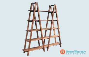 Bookshelf With Two Ladders and Planks of Wood