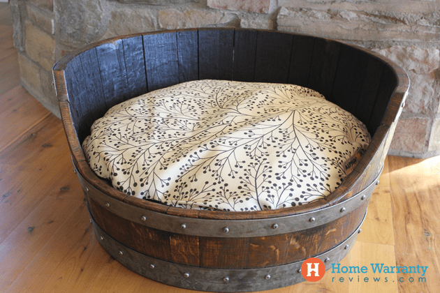 DIY wine barrel pet bed