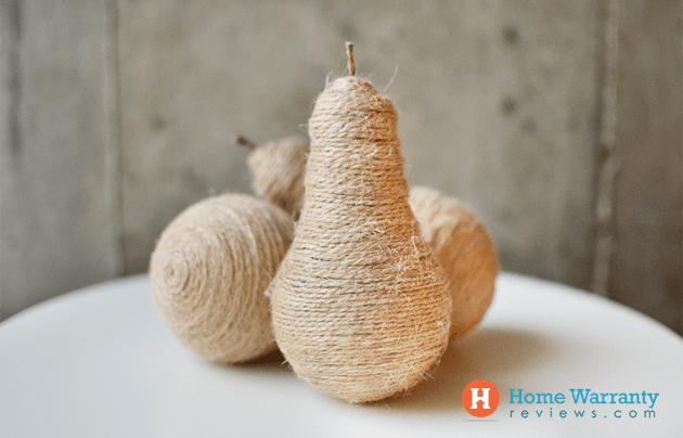 how to make Twine Pear Centerpieces with a light bulb