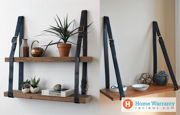 Wood Shelves and Recycled Leather
