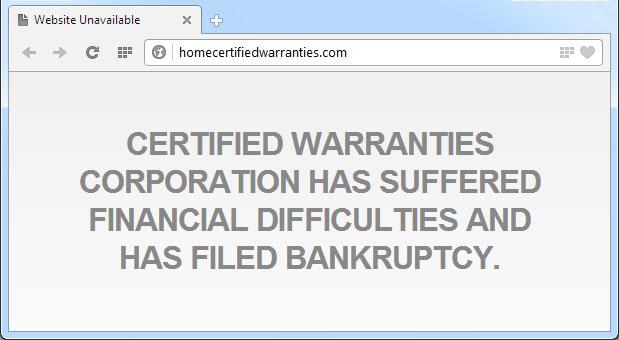 Certified Warranties Website Screenshot