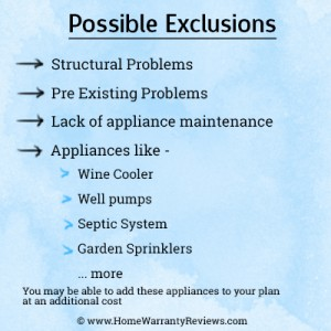 home warranty exclusions
